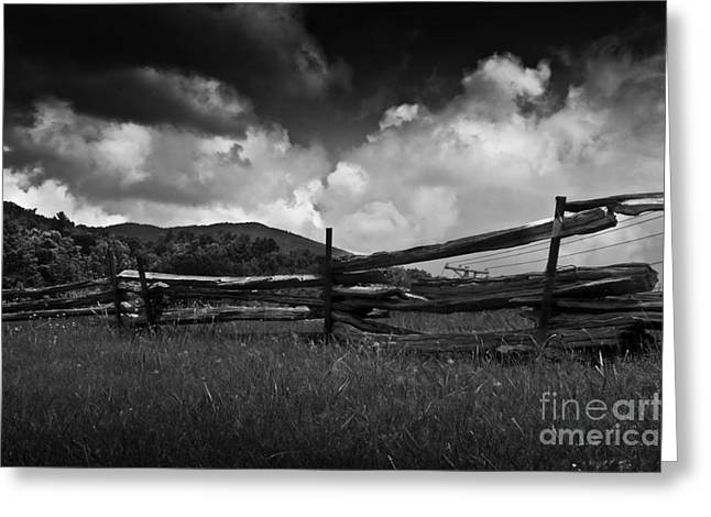 Olia Saunders Greeting Cards - Meadow with Fence in Vermont Black White Greeting Card by Design Remix