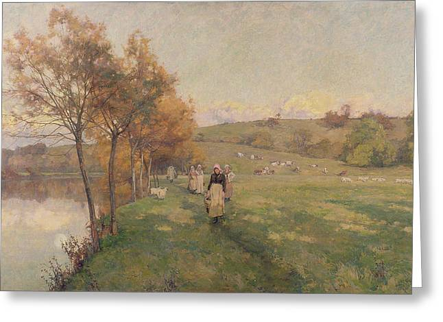 Brown Leaves Greeting Cards - Meadows by the Avon Greeting Card by Alfred Parsons