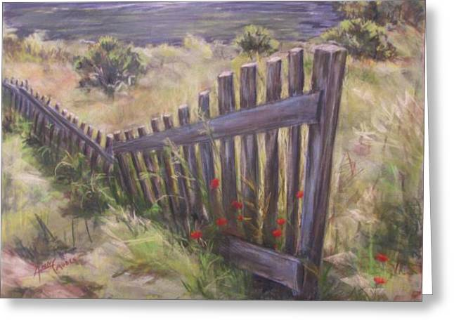 Fence Pastels Greeting Cards - Meandering Fence Greeting Card by Ann Caudle