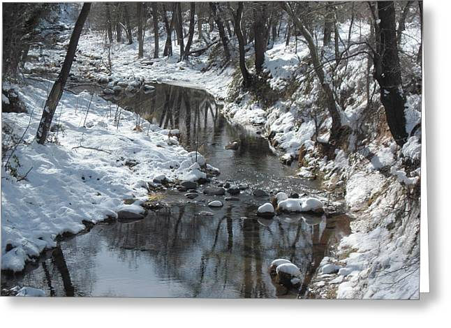 Oak Creek Greeting Cards - Meandering Stream Greeting Card by Sandy Tracey