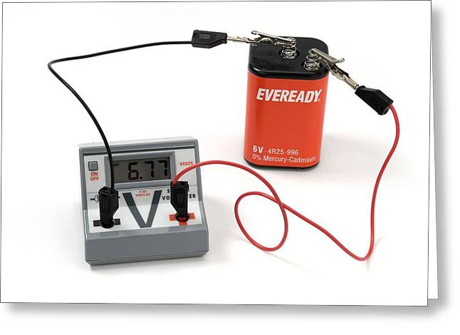 Direct Current Greeting Cards - Measuring A Batterys Voltage Greeting Card by Trevor Clifford Photography