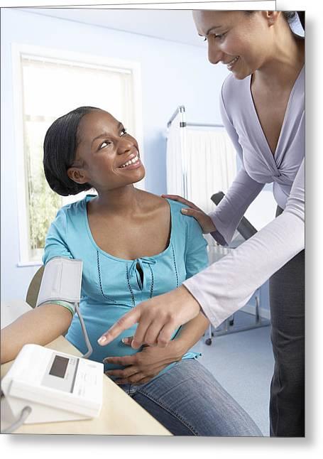 Pregnancy Greeting Cards - Measuring Blood Pressure In Pregnancy Greeting Card by Adam Gault