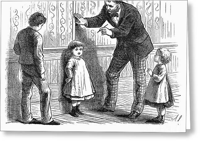 Measuring Children, 1876 Greeting Card by Granger