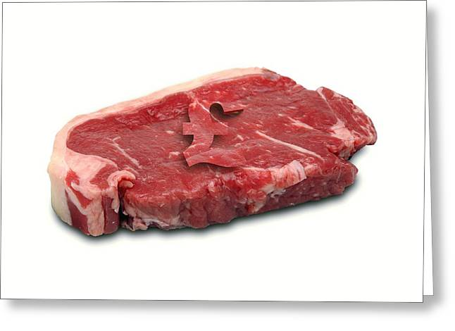 Red Meat Greeting Cards - Meat Costs, Conceptual Image Greeting Card by Victor De Schwanberg