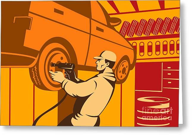 Mechanic Automotive Repairman Retro Greeting Card by Aloysius Patrimonio