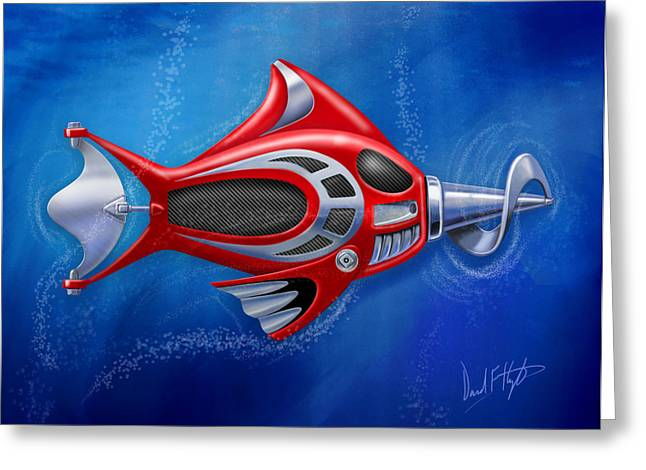 Greeting Cards - Mechanical Fish 1 Screwy Greeting Card by David Kyte