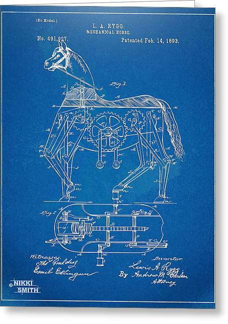 Lance Armstrong Greeting Cards - Mechanical Horse Toy Patent Artwork 1893 Greeting Card by Nikki Marie Smith