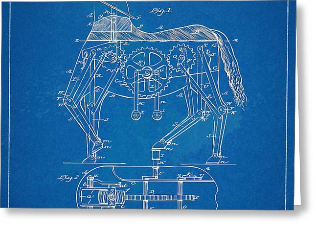 Mechanical Horse Toy Patent Artwork 1893 Greeting Card by Nikki Marie Smith