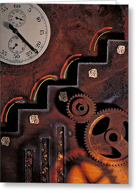 Cog Greeting Cards - Mechanical Technology, Conceptual Artwork Greeting Card by Paul Biddle