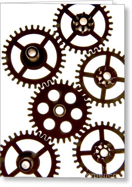 Cogs Greeting Cards - Mechanism Greeting Card by Bernard Jaubert