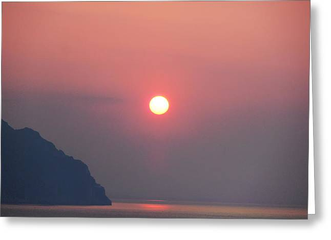 Amalfi Sunset Greeting Cards - Medaterainian Sunset Greeting Card by Bill Cannon