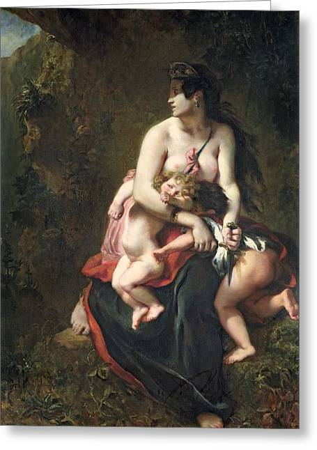 Metamorphoses Greeting Cards - Medea Greeting Card by Ferdinand Victor Eugene Delacroix