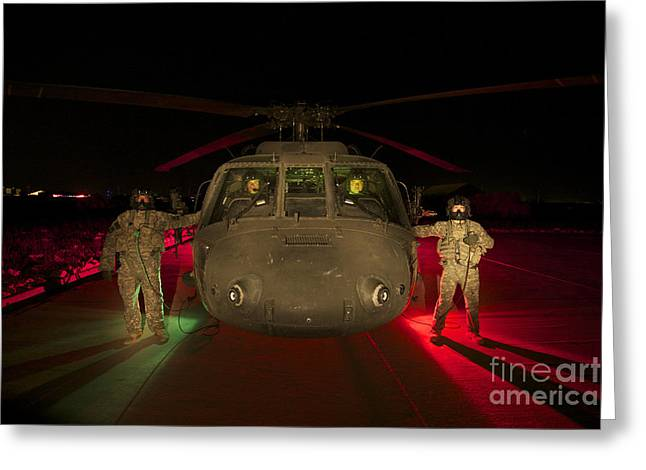 Medevac Crewmembers Stand Greeting Card by Terry Moore