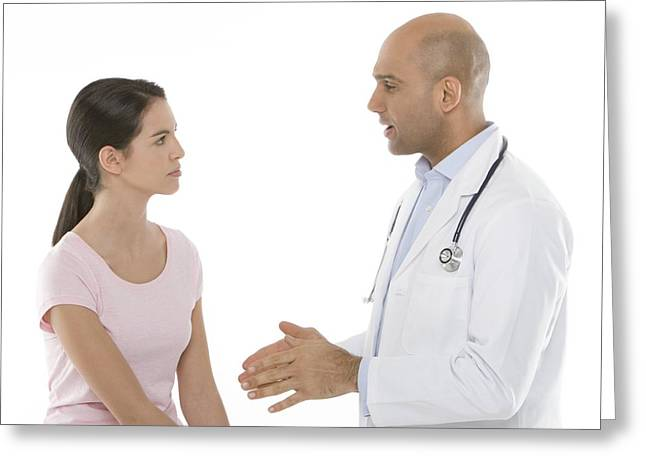 30-34 Years Greeting Cards - Medical Consultation Greeting Card by