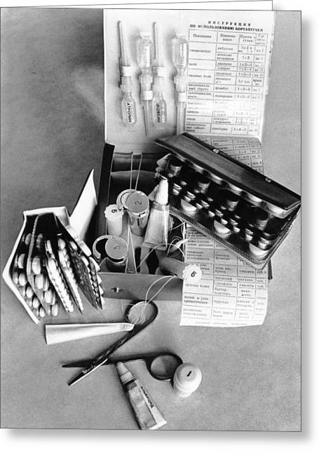 Pill Greeting Cards - Medical Kit From The Voskhod Spacecraft Greeting Card by Ria Novosti
