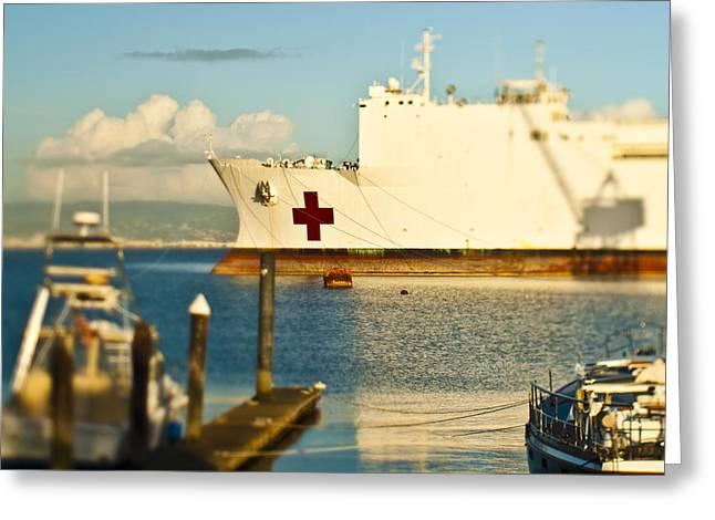 Medical Supplies Greeting Cards - Medical Ship at Port Greeting Card by Eddy Joaquim