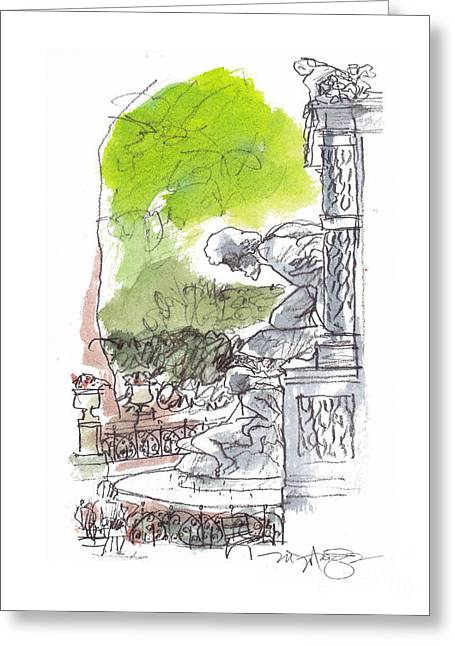 Summer Scene Drawings Greeting Cards - Medici Grotto Paris Greeting Card by Marilyn MacGregor