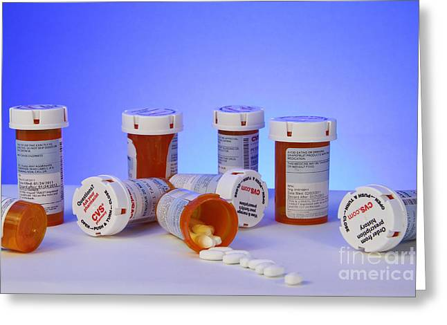 Prescription Greeting Cards - Medicine Bottles Greeting Card by Photo Researchers, Inc.