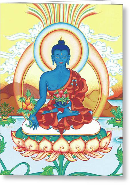 Best Sellers -  - Tibetan Buddhism Greeting Cards - Medicine Buddha Greeting Card by Carmen Mensink