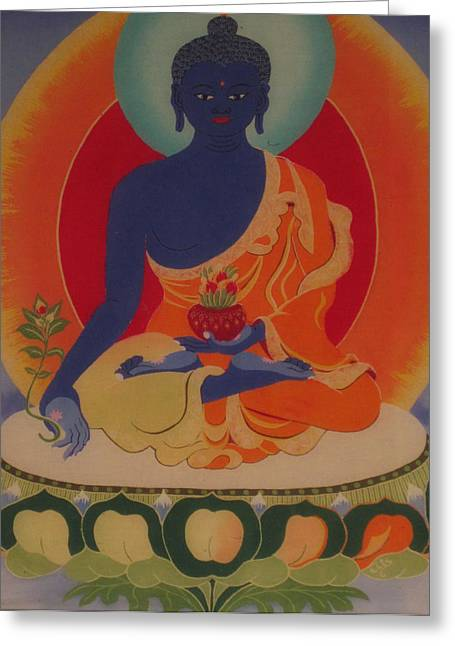 Religious Tapestries - Textiles Greeting Cards - Medicine Buddha Greeting Card by Elisabeth Van der Horst