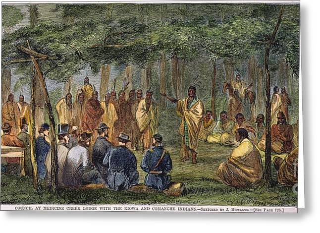 Diplomacy Greeting Cards - Medicine Lodge Treaty, 1867 Greeting Card by Granger