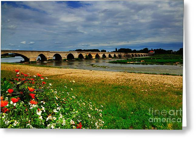 14th July Greeting Cards - Medieval bridge over the Loire River at Beaugency Greeting Card by Louise Heusinkveld