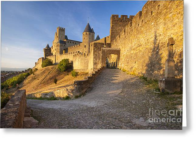 Carcassonne Greeting Cards - Medieval Carcassonne Greeting Card by Brian Jannsen