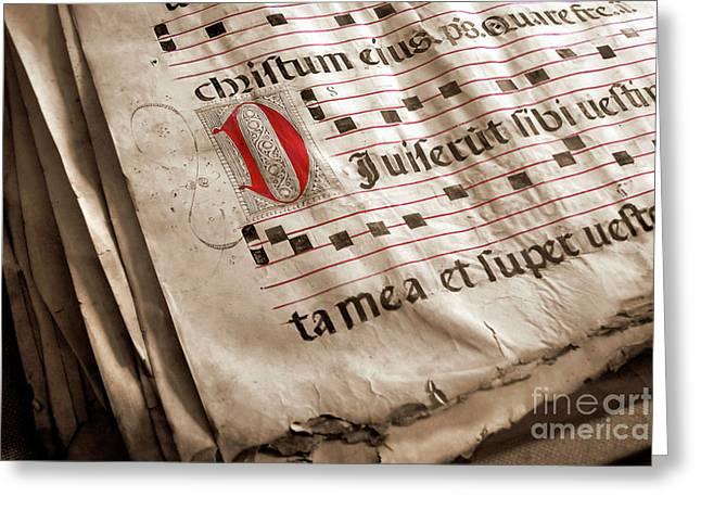 Aged Greeting Cards - Medieval Choir Book Greeting Card by Carlos Caetano