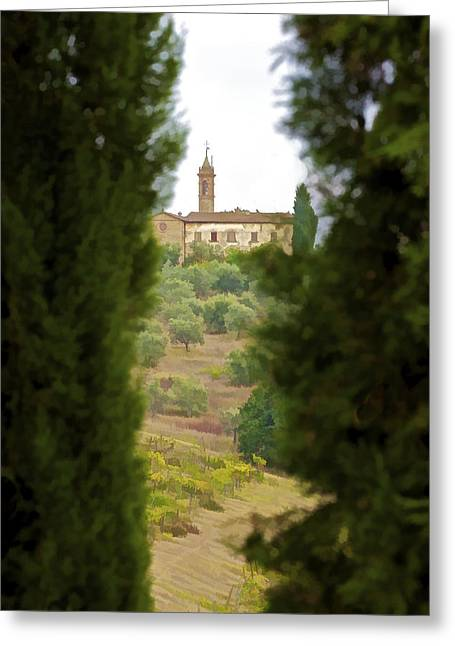 Vineyard Art Greeting Cards - Medieval Church of Tuscany Greeting Card by David Letts