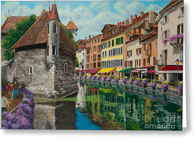 Village In France Greeting Cards - Medieval Jail in Annecy Greeting Card by Charlotte Blanchard