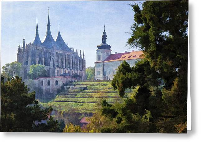 Medieval Buildings Greeting Cards - Medieval Greeting Card by Joan Carroll