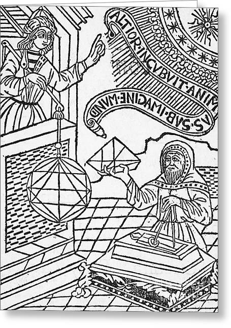 1493 Greeting Cards - Medieval Mathematicians Greeting Card by Science Source
