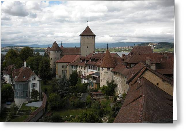 Medieval Village Greeting Cards - Medieval Murten Switzerland Greeting Card by Marilyn Dunlap