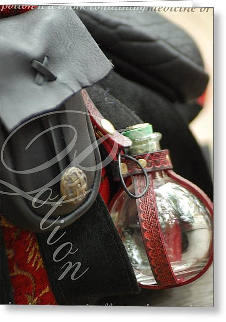 Glass Bottle Greeting Cards - Medieval Potions and Flasks Defined Greeting Card by Jennifer Holcombe
