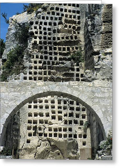 Dovecote Greeting Cards - Medieval Rock-cut Pigeon House, France Greeting Card by Chris Hellier
