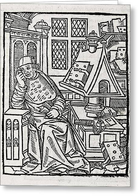 Copying Greeting Cards - Medieval Scholar, 16th Century Greeting Card by Middle Temple Library