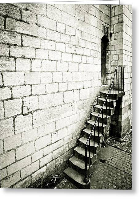 Medieval Entrance Photographs Greeting Cards - Medieval staircase Greeting Card by Tom Gowanlock