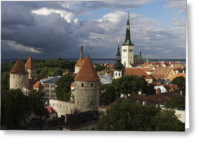 Tallinn Greeting Cards - Medieval Town Walls And Spire Of St Greeting Card by Keenpress