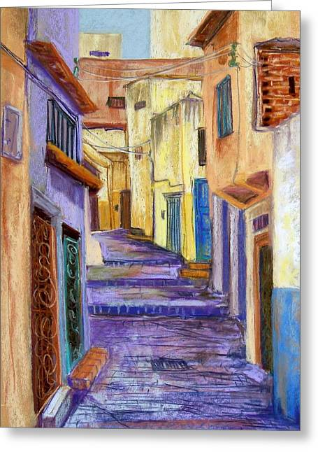 Old Street Pastels Greeting Cards - Medina in Tangier Greeting Card by Candy Mayer