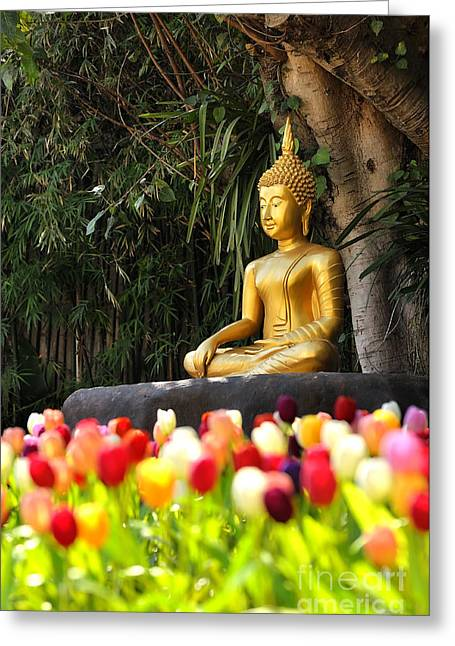 Intuited Greeting Cards - Meditation Buddha statue in tulips garden Under the Bodhi tree. Greeting Card by Panupong Roopyai
