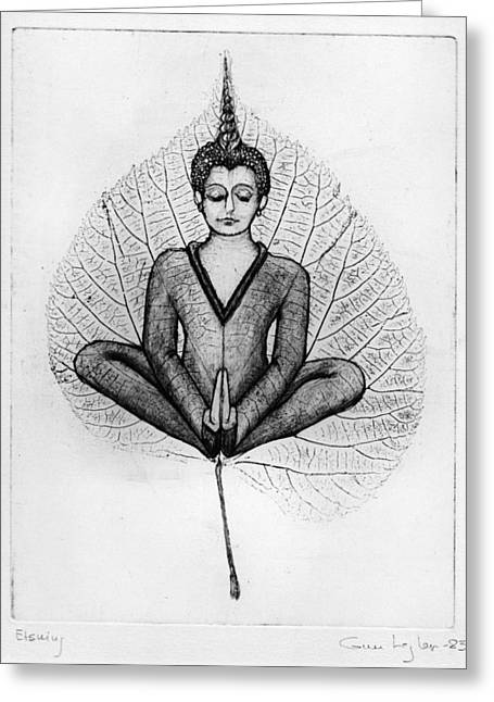 Meditation Drawings Greeting Cards - Meditation Greeting Card by Gun Legler