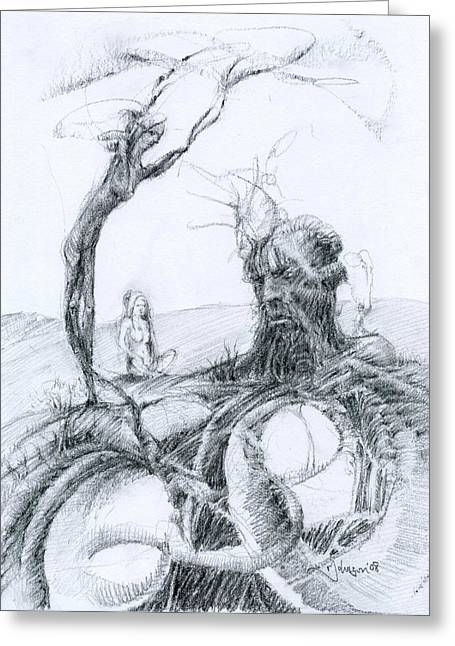 Surreal Landscape Drawings Greeting Cards - Meditation Greeting Card by Mark Johnson