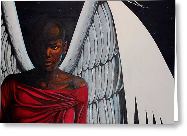 African Angel Greeting Cards - Meditation Greeting Card by William Roby