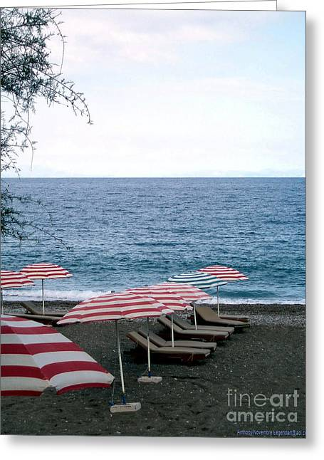Umbrellas Pyrography Greeting Cards - Mediterranean Beach Time  Greeting Card by Anthony Novembre