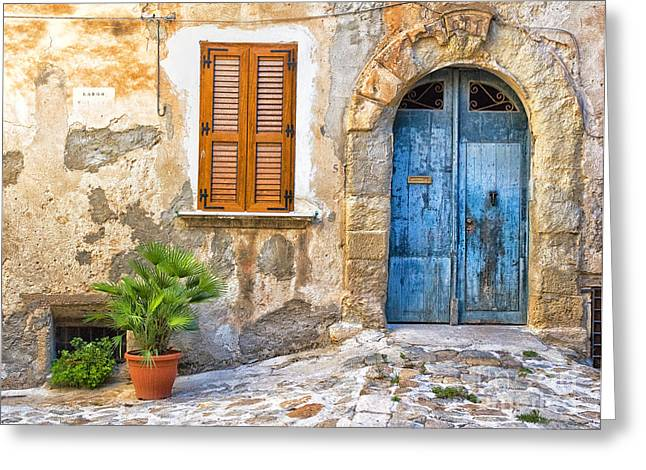 Silvia Ganora Greeting Cards - Mediterranean door window and vase Greeting Card by Silvia Ganora