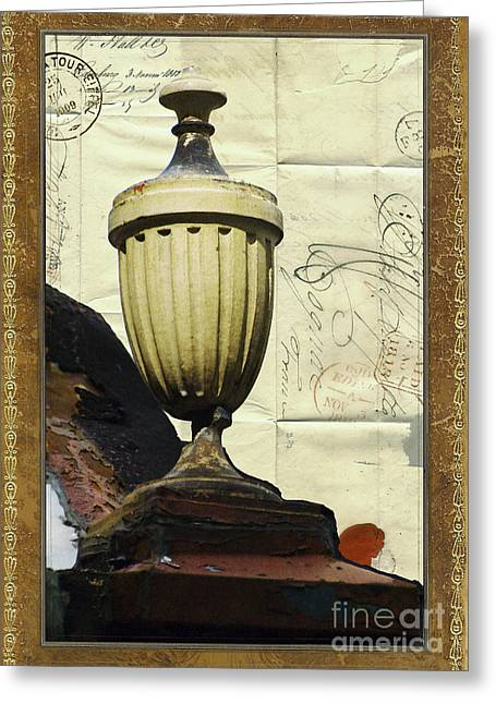 Love Letter Mixed Media Greeting Cards - Mediterranean Urn Greeting Card by AdSpice Studios