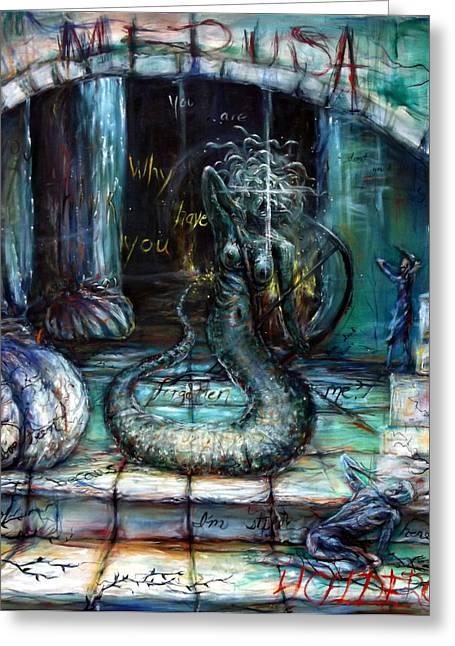 Pegasus Paintings Greeting Cards - Medusa Greeting Card by Heather Calderon