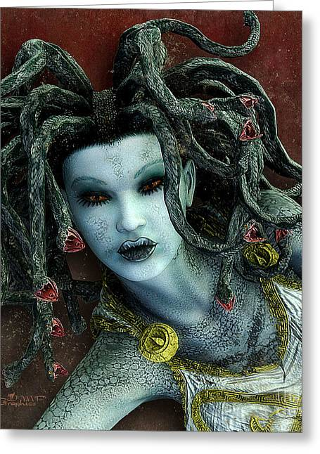 Medusa Digital Greeting Cards - Medusa Greeting Card by Jutta Maria Pusl