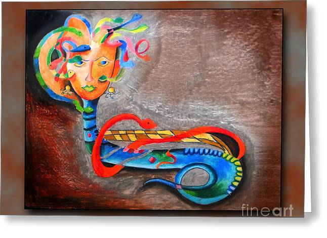 Snakes Pastels Greeting Cards - Medusa  Greeting Card by Sanjeev Babbar