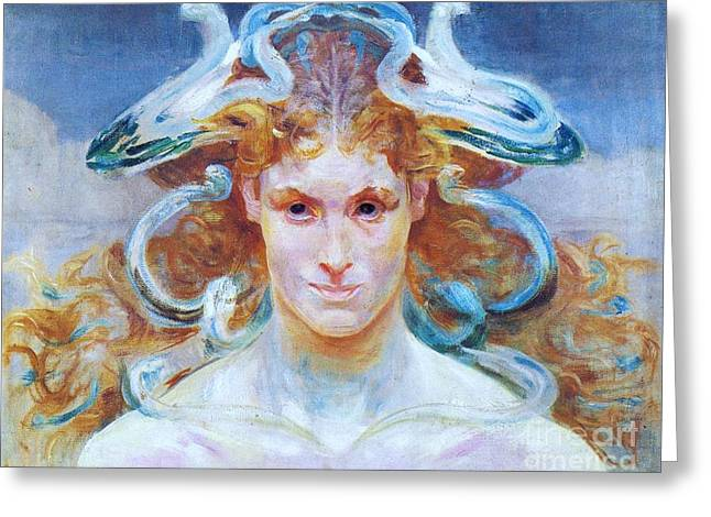 Medusa Paintings Greeting Cards - Meduza Greeting Card by Pg Reproductions
